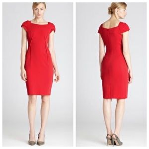 Reiss Venna Boat Neck Flame Red Dress